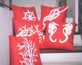 Nautical pillow,  Pillow set of 4, Embroidery Pillow, Coral Linen Pillow, Beach House Decor, Nautical Decor, Throw pillows, Coastal Fabric
