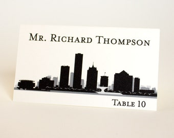 Milwaukee Place Card Skyline City Handmade Custom Name Card Escort Wedding Bridal Place Setting Other Cities Available Wisconsin
