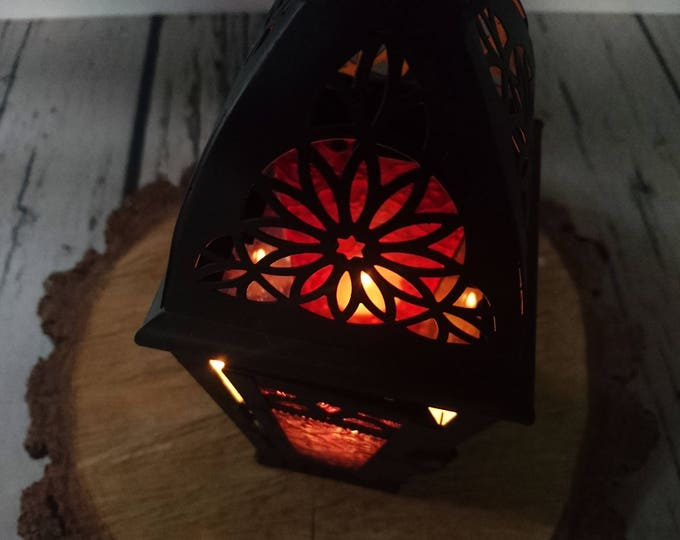 Black Moroccan candle lantern wedding centerpiece colorful glass party decor metal woodland outdoor home shabby chic Rustic vintage cozy