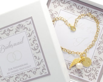 Wedding maid of honor bridesmaid bracelet bride 925 sterling silver gold plated