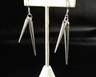 Double spike earrings, silver tone spike earrings, rocker chic