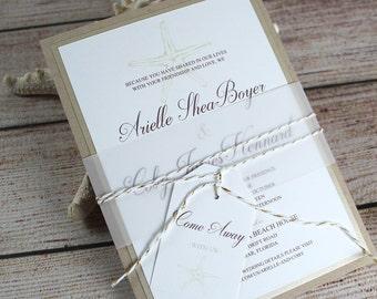 Wedding Invitations, Starfish Wedding Invitations, Destination Wedding, Rustic Beach Invitations