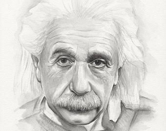 Albert Einstein Watercolor Art Print, Portrait Painting, Physicist, Wall Decor