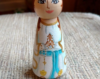 """Our Lady of Lourdes, 3.5"""" handpainted peg doll"""