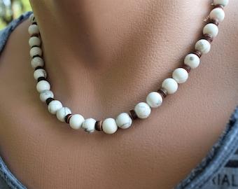 mens gemstone necklace white howlite necklace for him mens white necklace surfer necklace beach necklace mens simple necklaces howlite stone