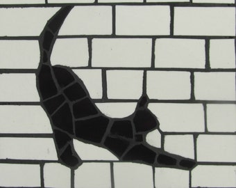 Black and white mosaic cat coasters; decorative and practical; sets available