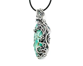Wire wrapped pendant turquoise necklace natural jewelry, Heady wire wrap December birthstone necklace, bohemian best friend necklace