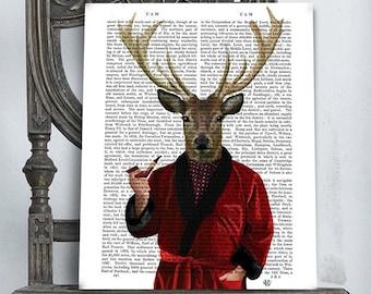 Deer In Smoking Jacket - Deer Illustration wall art wall decor wall hanging Deer art print Deer print Deer decor stag smoking pipe mens gift