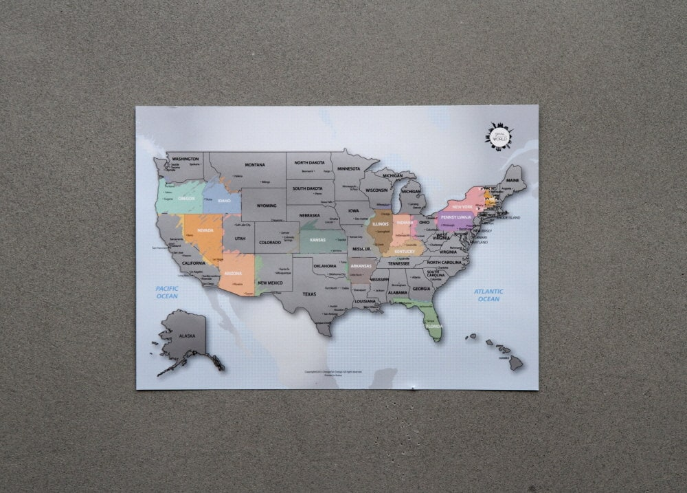 Us map poster amazon us scratch off world map the united states of america a4 gumiabroncs Image collections
