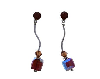 Swarovski Cube Earrings, 1pr, Bead, Earrings, 8mm, Smokey Topaz AB, Sterling Silver, Vintage swarovski Cubes, Wholesale
