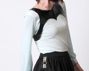 Black leather harness double-breasted, Womens clothing accessory, Womens leather harness, Womens accessories, MALAM