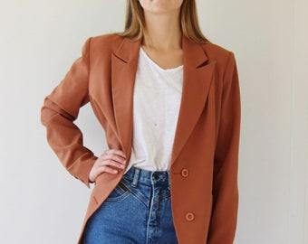 Rust Clay  JACKET Orange BLAZER / Double Breasted Blazer / Size 8 10