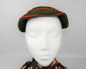 1950's Green and Scarlet Red Velour Hat