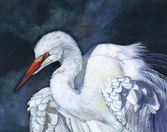 Great Egret painting - print of acrylic painting 5 by 7 size print wall art print - bird art print