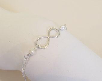 Infinity Bracelet, Friendship Bracelet,  Freshwater Pearl Infinity Bracelet,  Bridesmaids Bracelet, Wedding Gift