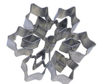 """Snowflake Cookie Cutter W/Cutouts Winter Cookie Cutter Christmas Cookie Cutter Holiday Cookie Cutter 3"""" RM-5857"""