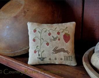 Primitive Sweet Strawberry Pillow Tuck Cross Stitch E Pattern PDF New Pattern