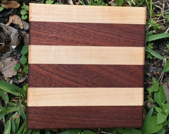 Striped Wood Cutting Board - Durable, Artisan-Made