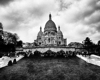 "Black and White Photography - Sacre Coeur park, Paris, Paris photography, Paris prints, Sacre Coeur wall art, Europe, travel - ""Perspective"""