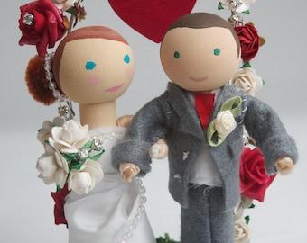Handmade, Customized, Bride & Groom Wooden Peg Doll, Wedding Cake Topper