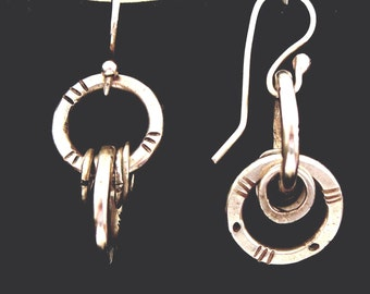 Earrings - sterling silver forged hoops