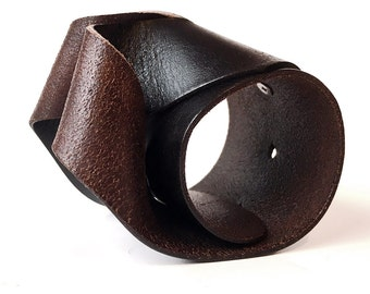 Twisted Black and Brown Leather Cuff Bracelet Wristband Adjustable Eco Friendly Leather Armband, Unisex, OOAK, Seattle Handmade