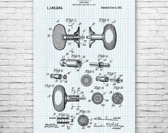 Door Knob Vintage 1916 Poster Art Print, Door Knob Poster, Door Knob Patent, Carpenter Gift, Engineer Gift, Locksmith Gift, Contractor Gift