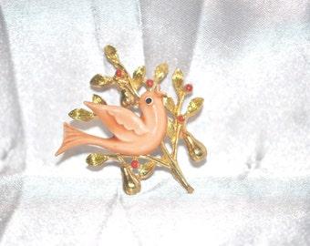Vintage Signed Art Gold Tone Enamel Brooch Partridge in a Pear Tree