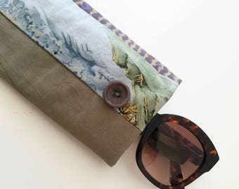 sunglasses case in olive green, gray and cream - quilted glasses case in army green cotton - patchwork accessories case