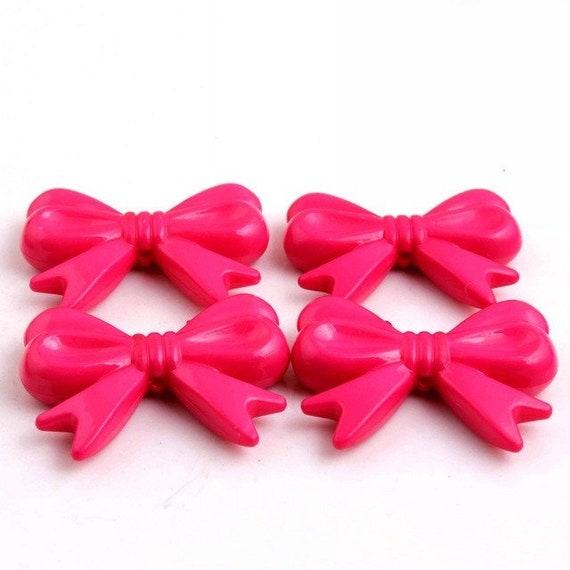 MajorCrafts® 4pcs Dark Pink 46*36mm Large Chunky Acrylic Embellishment Bows C16