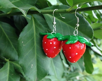 Strawberry Earrings, Polymer Clay