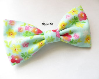Mint Yellow Pink Wedding Bow Tie, Aqua Yellow Pink Wedding Bow Tie in All Sizes, Cotton Bow Tie