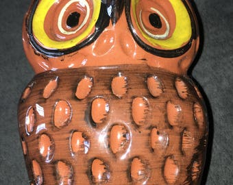 Vintage Pottery Owl Napkin Holder Kitchen Decor Woodland Creature Bird