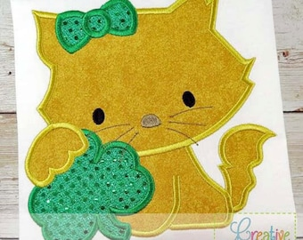 Personalized Kitty Cat with Shamrock Applique Shirt or Bodysuit Girl or Boy
