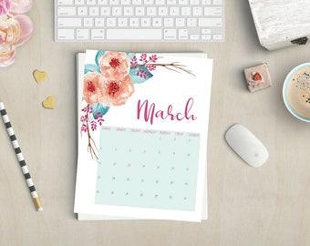 March 2018 Printable Floral Calendar 8.5'' x 11'' Letter Size