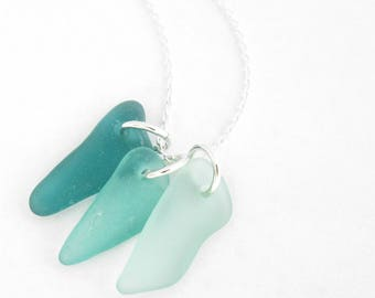 Teal Sea Glass Necklace, Green Natural Beachglass Jewelry, Tropical Resort Wear