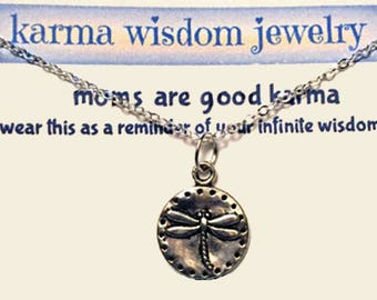 Silver Dragonfly Necklace,Karma Jewelry, Mother's Day Quote, moms are good karma,Silver Necklace, Firefly Jewelry, Personalized Gift for Her