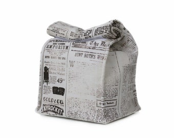 MTO Insulated lunch bag  - Vintage newspaper