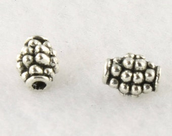 Antique Silver Barrel Spacer Bead - 5mm x 7mm - Lead Free Pewter Bead - Barrel Bead with Raised Dots - Tube Bead - Barrel Spacer - PWT16S