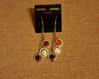 Red White and Blue Tri-Chain Earrings