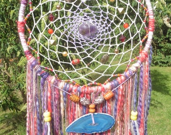 Bohemian Galaxy Dreamcatcher with Geode Slice & Amethyst Crystal Stone