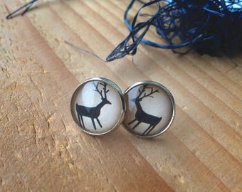 Vintage Deer Earrings, Glass Earrings, Image Earings, Stud Earrings with deer, Ancient deer Earrings, Free Shipping