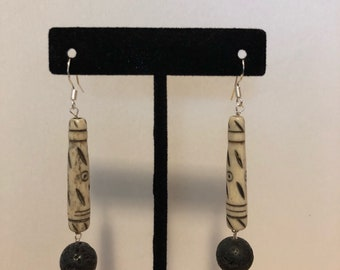 Sterling silver African bone+ lava rock earrings