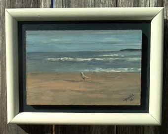 Raised Panel Portrait, unique portrait,painting of ocean,handmade white frame,acrylic on wood, adirondack chair painting, covered brdige