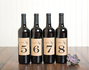 Table Number Wine Bottle Labels \\ Classic