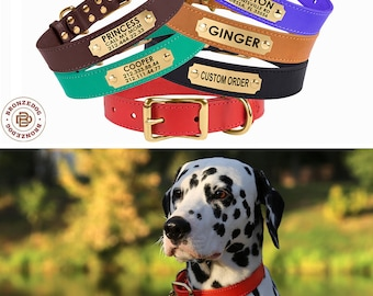 Leather Dog Collar, Personalized Dog Collar, Custom Dog Collar, Dog Collars, Engraved Dog Collar, Dog ID Collar, Buckle Dog Collar, Dog Gift