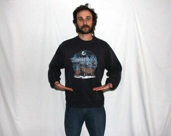 1980s Whitetail Deer Crewneck Sweatshirt. Retro Hipster Black Nature Deer Hipster Sweatshirt. Black Deer Hunter Rocker Sweatshirt.