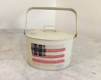 Patriotic primitive tin berry pail with flag, Americana decor, Fourth of July, Primitive American flag decor