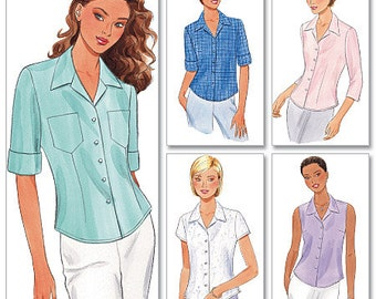 Butterick Sewing Pattern B6085 Misses'/Misses' Petite Button-Down Shirts