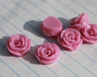 10 SMALL ROSE Cabochons - 12mm - Lilac Color